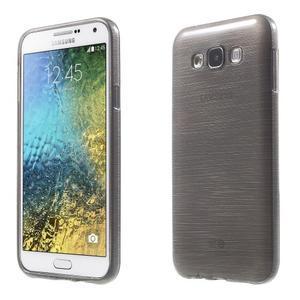 Broušený gélový obal pre Samsung Galaxy E7 - šedý - 1