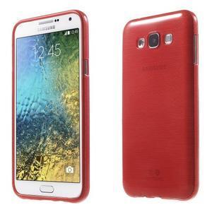 Brúsený gélový obal pre Samsung Galaxy E7 - červený - 1