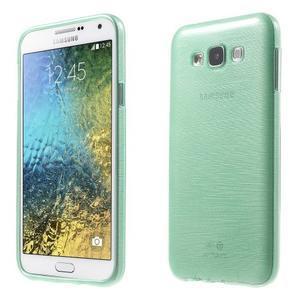 Brúsený gélový obal pre Samsung Galaxy E7 - cyan - 1