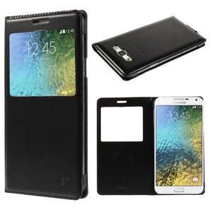 Kožené peňaženkové puzdro s okienkom - čierné - 1