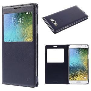 Kožené peňaženkové puzdro s okienkom - tmavo modré - 1