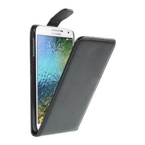 Čierné flipové kožené puzdro pre Samsung Galaxy E7 - 1