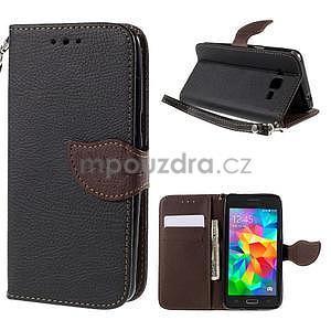 Čierné/hnedé zapínací peňaženkové puzdro na Samsung Galaxy Grand Prime - 1