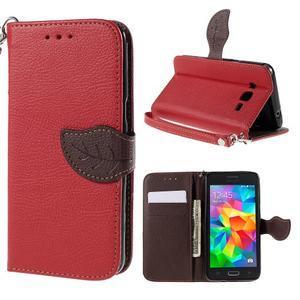 Červené/hnedé zapínací peňaženkové puzdro na Samsung Galaxy Grand Prime - 1