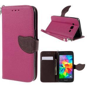 Rose/hnedé zapínací peňaženkové puzdro na Samsung Galaxy Grand Prime - 1