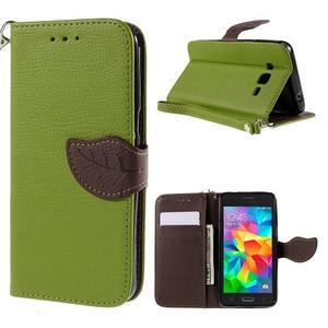 Zelené/hnedé zapínací peňaženkové puzdro na Samsung Galaxy Grand Prime - 1