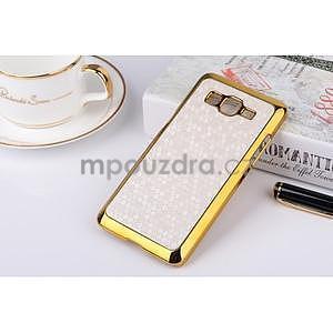 Luxusní kryt se zlatým lemem na Samsung Grand Prime - biely - 1