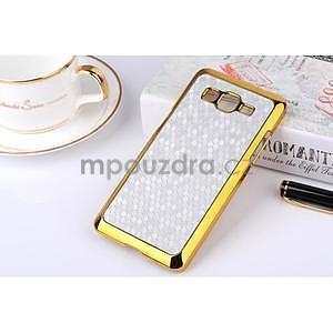 Luxusný kryt se zlatým lemem pre Samsung Grand Prime - strieborný - 1
