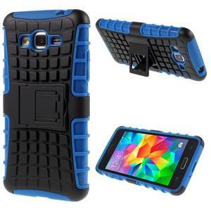 Vysoce odolný kryt so stojanom pre Samsung Galaxy Grand Prime - modrý - 1