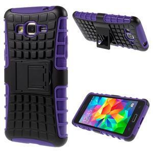 Vysoce odolný kryt so stojanom pre Samsung Galaxy Grand Prime - fialový - 1