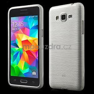 Broušený gélový obal pre Samsung Galaxy Grand Prime -  biely - 1
