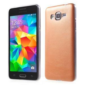 Ultratenký kožený kryt na Samsung Grand Prime - oranžový - 1