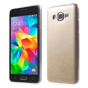 Ultratenký kožený kryt na Samsung Grand Prime - zlatý - 1