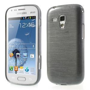 Brúsený gélový kryt pre Samsung Galaxy S Duos - šedý - 1