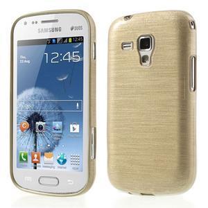 Broušený gélový kryt na Samsung Galaxy S Duos - zlatý - 1