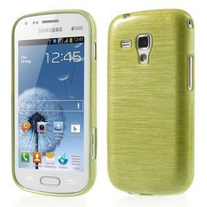 Broušený gélový kryt na Samsung Galaxy S Duos - zeleno žltý - 1