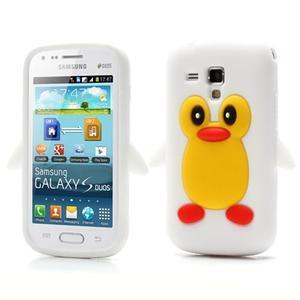 Silikonový obal tučňák na Samsung Galaxy S Duos - biely - 1