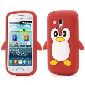 Silikonový obal tučňák na Samsung Galaxy S Duos - červený - 1