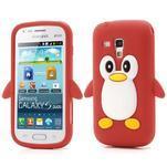 Silikonový obal tučňák na Samsung Galaxy S Duos - červený - 1/5