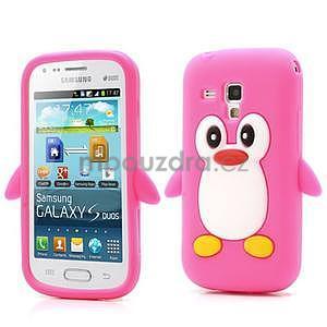 Silikonový obal tučňák na Samsung Galaxy S Duos - rose - 1