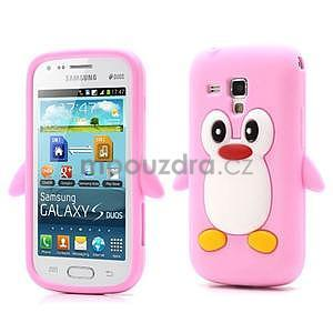 Silikonový obal tučňák na Samsung Galaxy S Duos - růžový - 1