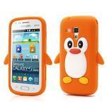 Silikonový obal tučňák na Samsung Galaxy S Duos - oranžový - 1/5