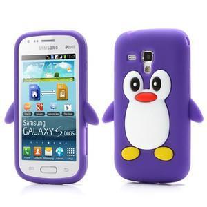 Silikonový obal tučniak pre Samsung Galaxy S Duos - fialový - 1