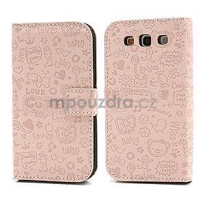 Peňaženkové puzdro pre Samsung Galaxy S3 - ružové - 1