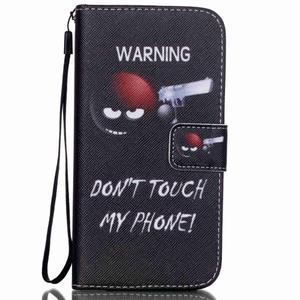 Knížkové PU kožené puzdro pre Samsung Galaxy S5 - varujem ťa - 1