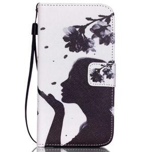 Knížkové PU kožené pouzdro na Samsung Galaxy S5 - květinová dívka - 1