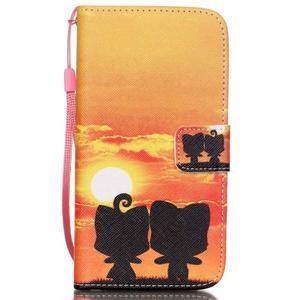 Knížkové PU kožené puzdro pre Samsung Galaxy S5 - západ slnka - 1