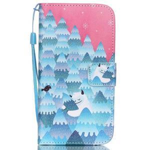 Knížkové PU kožené puzdro pre Samsung Galaxy S5 - snežný muž - 1