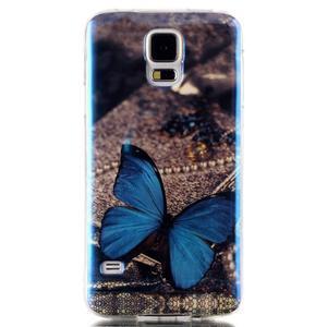 Blu-ray gelový obal s odlesky na Samsung Galaxy S5 - motýlek - 1