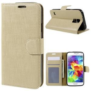 Clothy Pu kožené puzdro pre Samsung Galaxy S5 - champagne - 1