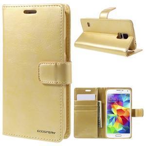 Bluemoon PU kožené puzdro pre Samsung Galaxy S5 - zlaté - 1