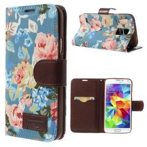 Kvetinové puzdro pre mobil Samsung Galaxy S5 - modré pozadie - 1