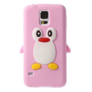 Penguin silikonový obal pre Samsung Galaxy S5 - ružový - 1