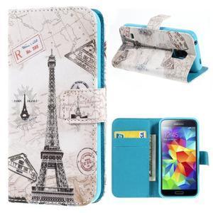 Emotive PU kožené puzdro pre Samsung Galaxy S5 mini - Eiffelova veža - 1