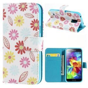 Emotive PU kožené puzdro pre Samsung Galaxy S5 mini - farebné kvety - 1