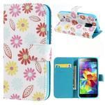 Emotive PU kožené pouzdro na Samsung Galaxy S5 mini - barevné květiny - 1/7