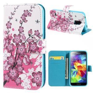 Emotive PU kožené pouzdro na Samsung Galaxy S5 mini - kvetoucí větvička - 1
