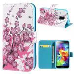 Emotive PU kožené pouzdro na Samsung Galaxy S5 mini - kvetoucí větvička - 1/7