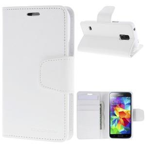 Sonata PU kožené puzdro pre Samsung Galaxy S5 mini - biele - 1