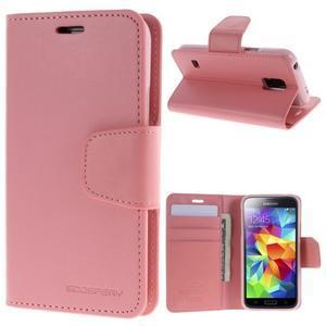 Sonata PU kožené pouzdro na Samsung Galaxy S5 mini - růžové - 1
