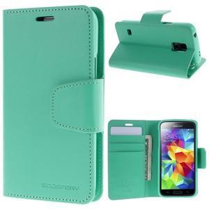 Sonata PU kožené pouzdro na Samsung Galaxy S5 mini - azurové - 1