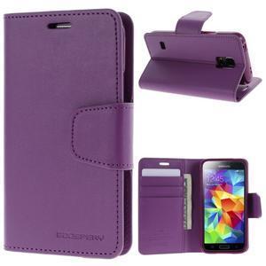 Sonata PU kožené pouzdro na Samsung Galaxy S5 mini - fialové - 1
