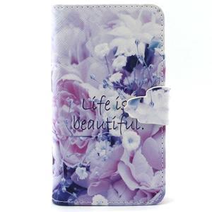 Peňaženkové puzdro pre mobil Samsung Galaxy S5 mini -  kvety - 1
