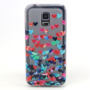 Transparentní gelový obal na mobil Samsung Galaxy S5 mini - srdíčka - 1