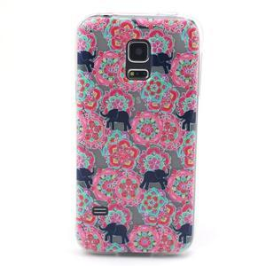Transparentný gélový obal pre mobil Samsung Galaxy S5 mini - kvety a slony - 1