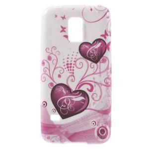 Softy gélový obal pre Samsung Galaxy S5 mini - srdca - 1